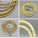 Pure OCC Silver+Golden Plated Earphone Cable For 0.78mm 2pin Westone W4r 1964 Custom
