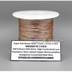 10m 7 Cores OCC Silver Plated (6*14+1*16) 100*0.05mm OD0.8mm High Conductivity Low Impedance headphone Bulk Wire