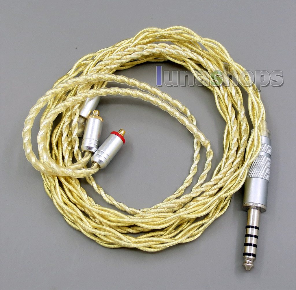 4.4mm Extremely Soft 7N OCC Pure Silver + Gold Plated Earphone Cable For Shure se535 se846 se425 se215 MMCX