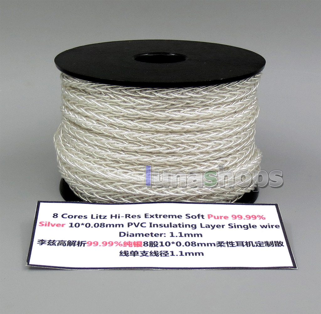 1m 8 cores 10*0.1mm 99.99% Pure Silver Earphone DIY Custom Cable (Not  ) Single Diameter OD:1.1mm
