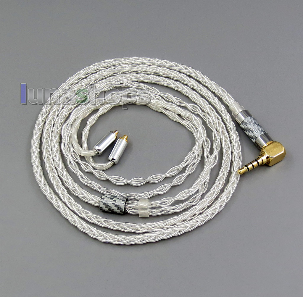 8 cores 99.99% Pure Silver Earphone Cable  For Shure se535 se846 MMCX 5 6 8 10 12 20 BA