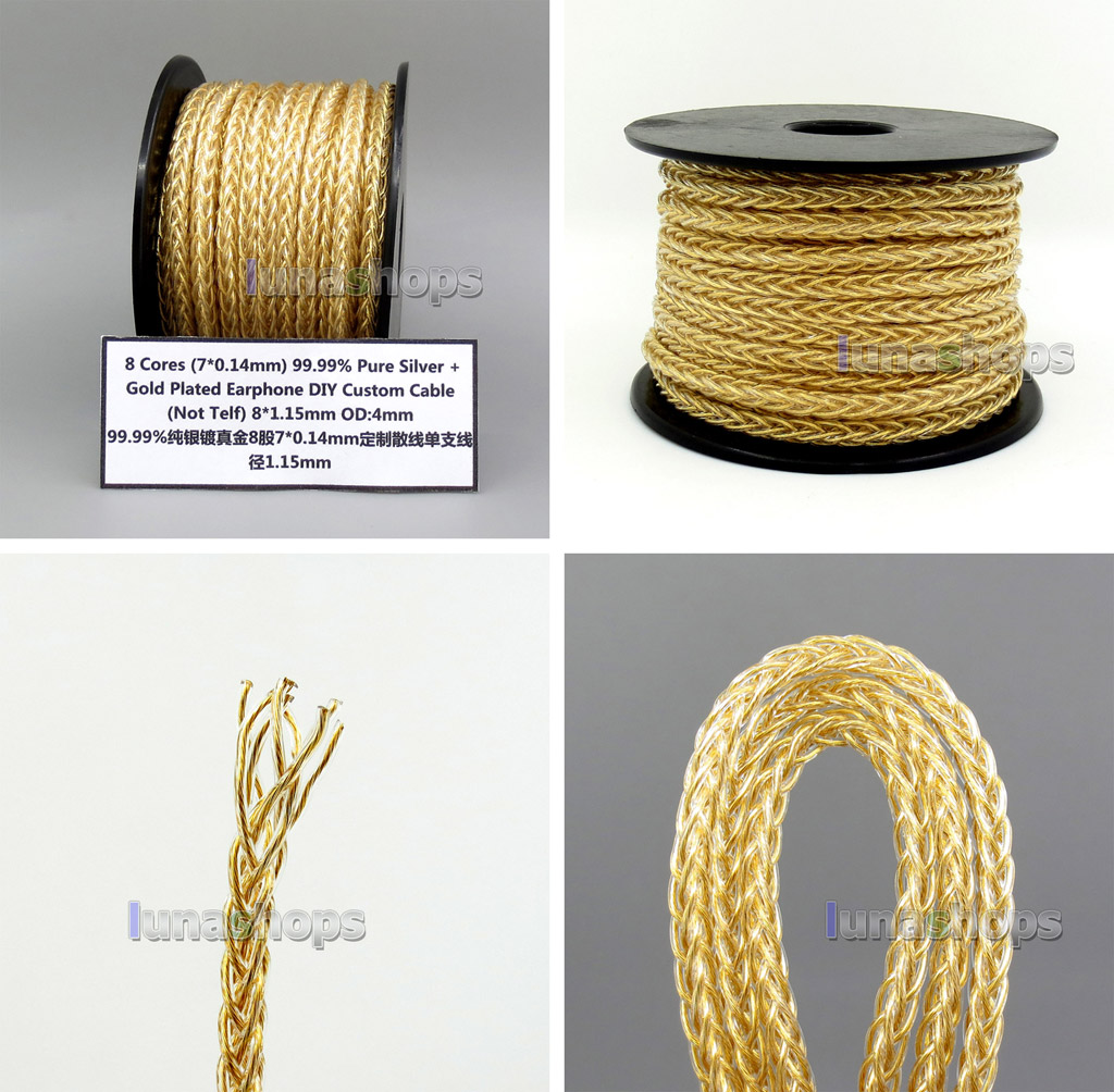 50m 8*(7*0.14mm) 8 Cores 99.99% Pure Silver + Gold Plated Earphone DIY Custom Cable (Not  )8*1.15mm OD:4mm