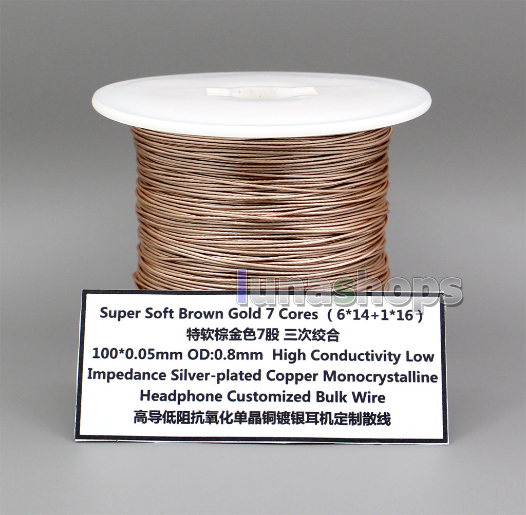 200m 7 Cores OCC Silver Plated (6*14+1*16) 100*0.05mm OD0.8mm High Conductivity Low Impedance headphone Bulk Wire