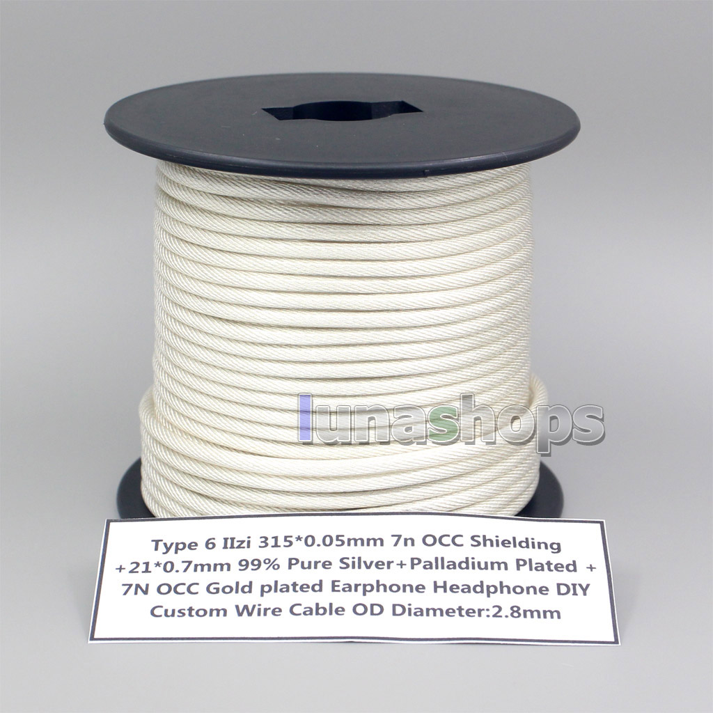 10m Type 6 IIzi 315*0.05mm 7N OCC Shielding + 21*0.07mm 99% Pure Silver Palladium Plated+ 7N OCC Gold Plated Wire